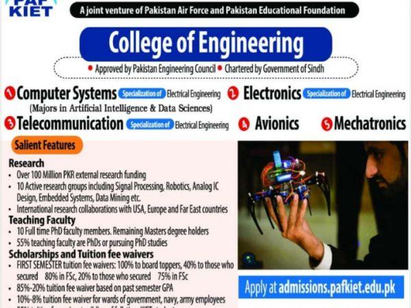 Admissions Spring-2021 (KIET-College of Engineering)